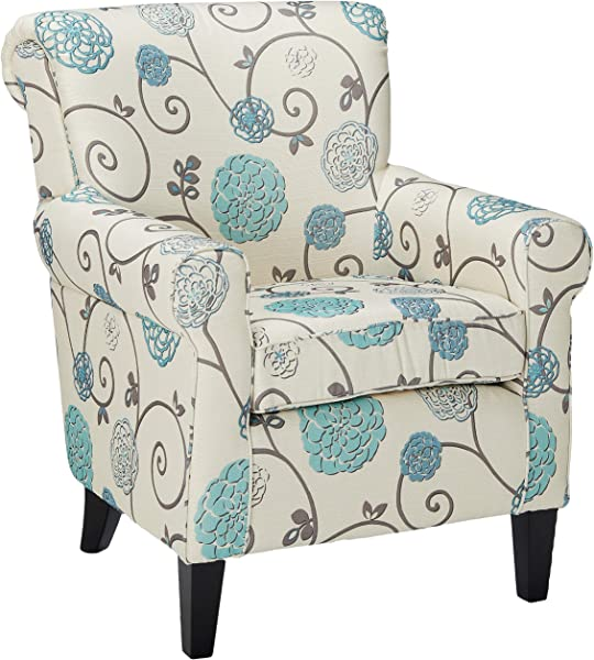 Christopher Knight Home Roseville Blue Floral Accent Lounge Chair Decorative Club Chair In Blue Flower And Vines Pattern