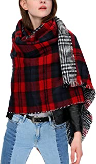 Urban Coco Women's Tartan Plaid Blanket Scarf Winter Checked Wrap Shawl (Series 1 red)