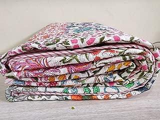 Handicraftofpinkcity Handmade Hand Block Print Throw Multu Patch Work Quilted Bed cover Kantha Blanket