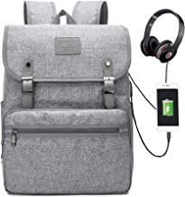 Laptop Backpack Men Women Laptop BookbagS School College Bookbag Stylish Water Resistant Vintage Backpack with USB Port Fashion Grey Fits 15.6 Inch Laptop and Notebook