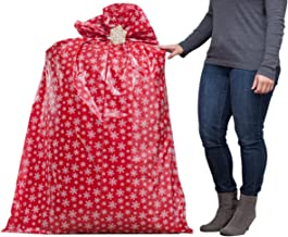 """Hallmark 56"""" Jumbo Christmas Gift Bag (Red with White Snowflakes) for Kitchen Appliances, Carry-on Luggage, Large Toys and Stuffed Animals"""