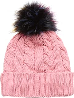 MIRMARU Winter Cable Knitted Faux Fur Multi Color Pom Pom Beanie Hat with Soft Fur Lining