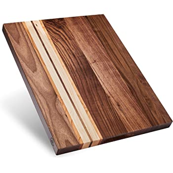 Large Multipurpose American Walnut Wood Cutting Board with Cherry/Maple Accents: 17x13x1.1in Reversible Charcuterie Board with Cracker Holder (Gift Box Included) by Sonder Los Angeles