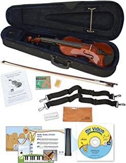 eMedia My Violin Starter Pack for Kids - Full Size Violin (5 Sizes Available) - Includes Violin Lesson Software, Case, Bow, Chalk, Rosin, Straps, Polishing Cloth, and Strings (EV05165)