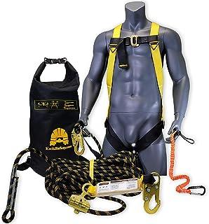 KwikSafety (شارلوت ، NC) TSUNAMI COMBO 50 فوت عمودی طناب نجات ، 1D مهار ایمنی ، ابزار تسمه ، سقف لنگر جذب کننده شوک خارجی ANSI OSHA تجهیزات حفاظت محدودیت سقوط