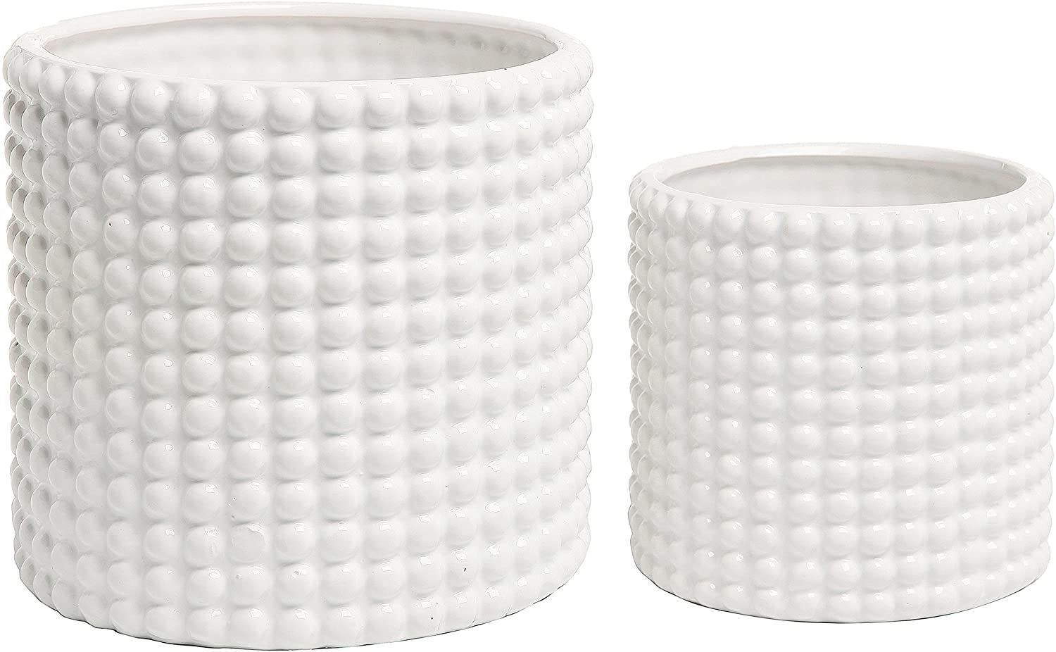 Ranking integrated 1st place Set of 2 White Luxury goods Ceramic Pla Textured Hobnail Flower Vintage-Style