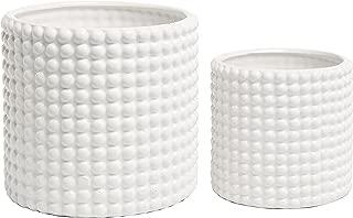 MyGift Set of 2 White Ceramic Vintage-Style Hobnail Textured Flower Planter Pots/Storage Jars