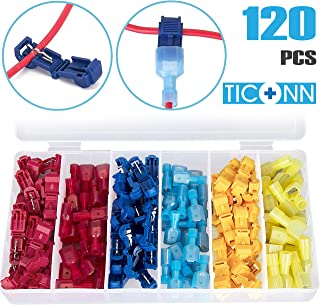 TICONN 120pcs T-Tap Wire Connectors, Self-Stripping Quick Splice Electrical Wire..
