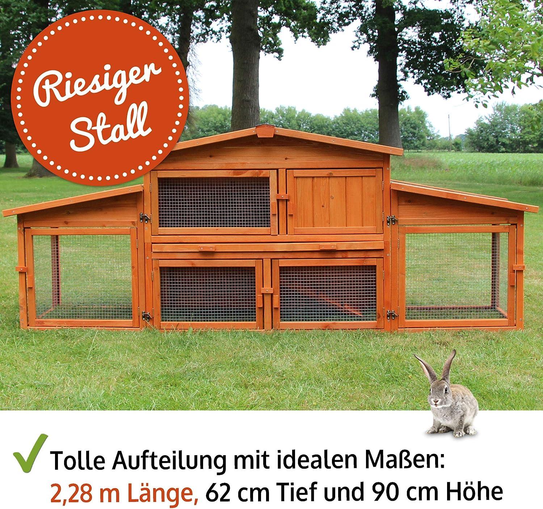 zooprinz riesiger Hasenstall  aus edlem massiven Vollholz ideal ...