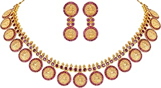 Beautiful South Indian Style Temple Coin Necklace Earrings Traditional Wedding Ethnic Party Jewelry Set for Women