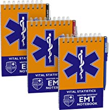 EMT Vital Notebook (3-Pack) - Includes 3 Pens, 140 Waterproof Pages/Notepad. Designed for Emergency First Responders, EMS Medical Professional