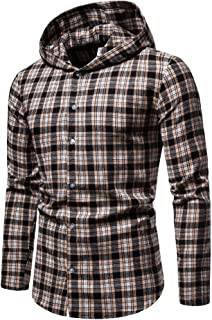 Iris Sprite Men Hooded Plaid Shirts Button Splice Sweatshirt Long Sleeve Lattice Tops