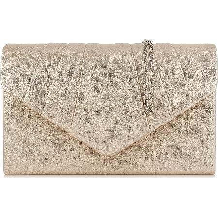 Milisente Clutch Damen, Elegante Clutch Umschlag Crossbody Klassisch Clutch Tasche Abendtasche (Pu-leder Champagne Gold)
