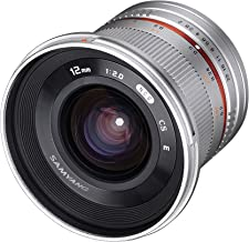 Samyang SY12M-FX-SIL 12mm F2.0 Ultra Wide Angle Lens for Fujifilm X-Mount Cameras, Silver