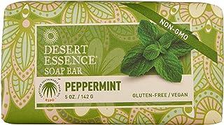Desert Essence Peppermint Soap Bar - 5 Ounce - Pack of 2 - Cleanse & Soothes Skin - Tea Tree Oil - Aloe Vera - Jojoba Oil ...
