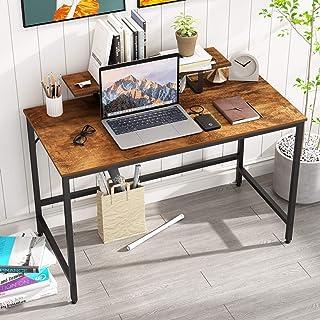 HOMEYFINE Bureau d'ordinateur,Table d'ordinateur Portable avec Rangement pour contrôleur,en Bois et métal,Table d'étude po...