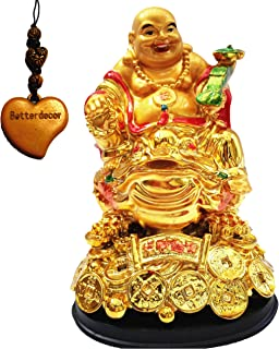 Betterdecor Feng Shui Golden Lauging (Happy) Buddha on Money Frog (Money Toad) Statue Figurine for Wealth Luck