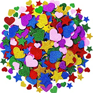 Tatuo Foam Glitter Stickers Foam Hearts Star Shapes Stickers Colorful Self Adhesive Foam Stickers for Mother's Day Cards, Kid's Arts Craft Supplies (600 Pieces)