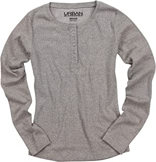 Urban Boundaries Womens Long Sleeve Waffle Knit Button Henley Shirt