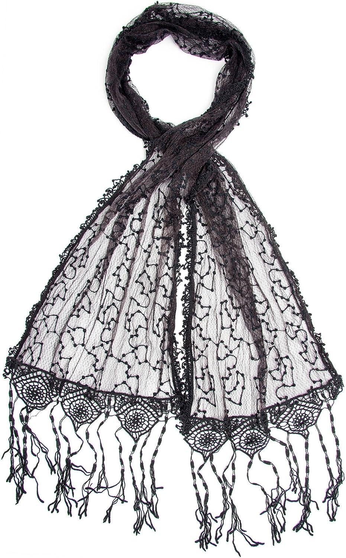 Bohomonde Adeline Scarf, Embroidered Shawl Stunning Crochet Lace Fringe
