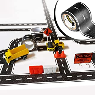 PlayTape TinyTown Construction Zone with 30x2 Road Tape: Includes Tuner Car, Tape Road, & Toy Road Signs & Accessories. Build Your Own Tiny Town! Easy to Use, Safe for Home, Quick CleanUp; PlayTape