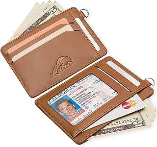 Mini Keychain Wallet – Minimalist Slim Front Pocket Genuine Leather Card Holder with ID Window