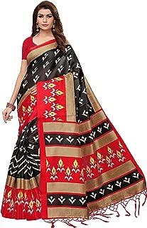 ETHNICMODE Women's Art Silk Kalamkari and Bhagalpuri Style Saree with Blouse Piece (Multi-Color_Free_Size) Priya Black