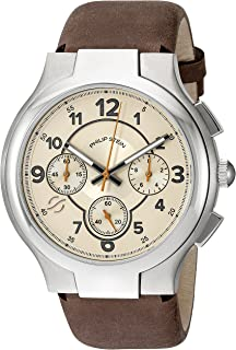 Philip Stein Mens Tan Watch with Vintage-Inspired Strap