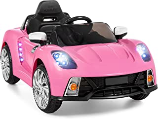 Best Choice Products SKY908 12V Kids Battery Powered Remote Control Electric RC Ride-On Car w/ 2 Speeds, LED Lights, MP3, AUX - Pink