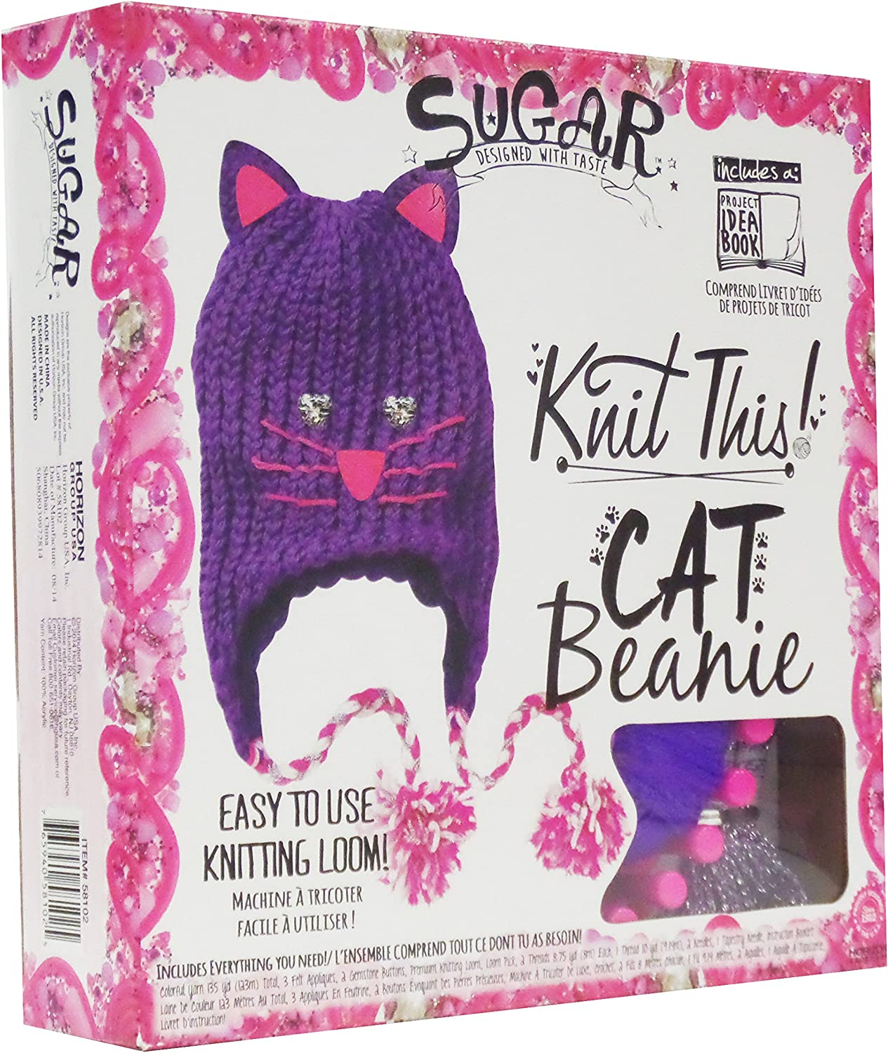 100% precio garantizado Sugar Knit This  Cat Beanie Knitting Kit with Yarn Yarn Yarn and Loom  precios ultra bajos