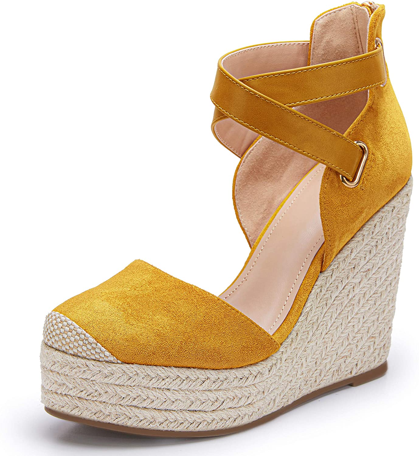PiePieBuy Womens Wedge Espadrille Ankle Manufacturer OFFicial shop Strap Max 52% OFF Toe Cap Pla Closed