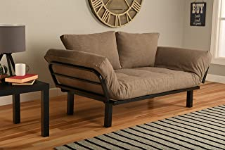 Kodiak Best Futon Lounger Sit Lounge Sleep Smaller Size Furniture is Perfect for College Dorm Bedroom Studio Apartment Guest Room Covered Patio Porch (Light Brown Stone Linen)