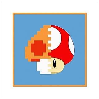 Plaid Design Super Mario Bros Power-Up Mushroom Fine Art Print - 16x16 - Signed/Numbered Limited Edition Pop Art Giclée - Artwork by John Lathrop