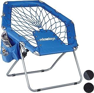 Relaxdays Silla Bungee Webster, elástica, suspensión, Plegable, hasta 100 kg Bolsas Laterales, azul, 70 x 84 x 70 cm