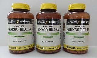 Mason Vitamins Ginkgo Biloba Leaves Powder,ginkgo biloba leaves 500 mg per Capsule 125 mg extract 4:1, 180 Gelatin Capsule...