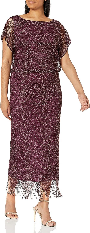 S.L. Fashions Women's Blouson Metallic Crochet Dress with Fringe Hemline