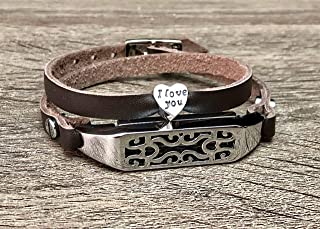 Dark Brown Leather Bracelet For Fitbit Flex 2 Tracker Handmade Double Wrap Adjustable Strap Fitbit Flex 2 Band Silver Jewelry Holder I Love You Heart Shaped Charm Women Fashion Accessory