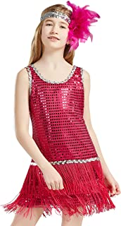 Girls 1920s Flapper Dress Headband Art Deco Gatsby Sequin Dress for Kid