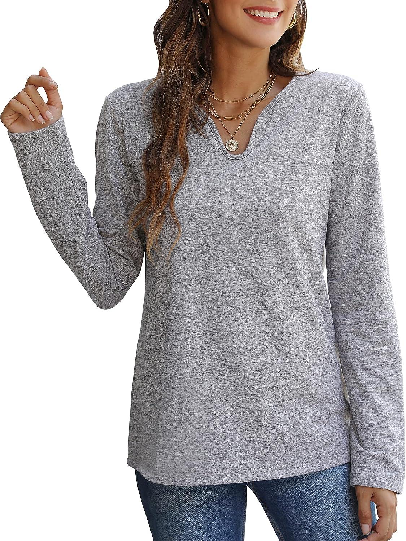 UNIQUEONE Women Casual Sweatshirt Long Sleeve V Neck Pullover Solid Color Loose Tops
