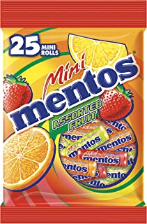 Mentos Mini Chewy Candy, Fruit, 25 Min Roll (Pack of 24)