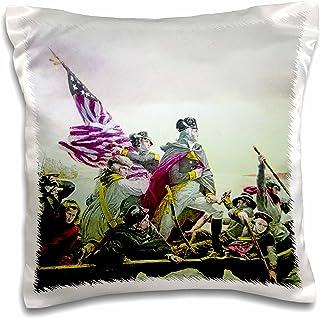 3dRose Vintage General George Washington Crossing the Delaware Magic Lantern - Pillow Case, 41cm by 41cm