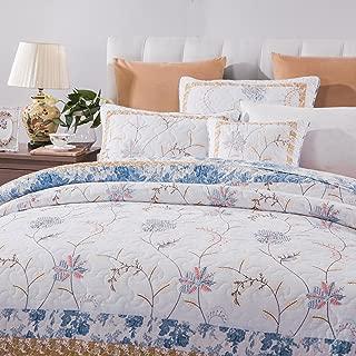 Tache 2-3 Piece 100% Cotton Floral Patchwork Winter Frost Blue Yellow White Bedspread Coverlet Quilt Set, Queen