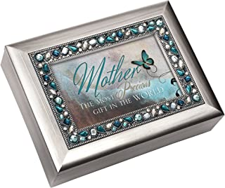 """""""Mother the Most Precious Gift in the World"""" Brushed Silver Finish Decorative Jewel Lid Musical Music Jewelry Box - Plays ..."""