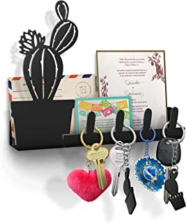 KukuPua Cactus Wall Key Holder, Mail Organizer, Decorative Key Rack, 4 Key Hooks, Metal Wall Decor for Home and Office, Black- with Two Succulent Shaped Key Chains