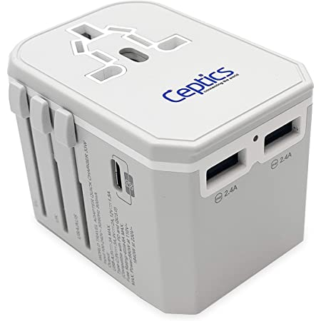 Universal Travel Plug Adapter by Ceptics - Powerful 33W with PD & QC 3.0 USB-C Fast Charging - 2 USB Ports Wall Charger Type I C G A Outlets 110V 220V A/C - EU Euro US UK, Model: UP-10KU-W