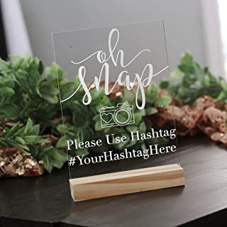 Wedding Hashtag Acrylic Social Media Sign with Wooden Stand