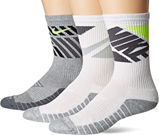 Everyday Max Cushion Crew Training Sock, Unisex Nike Socks with Sweat-Wicking Dri-FIT technology, Multi-Color (3 Pair), M