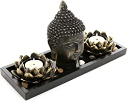 MyGift Buddha Head Sculpture Zen Garden Set w/ Lotus Tealight Candle Holders & Wooden Display Tray Black