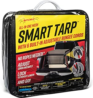 """SPIDER Smart Tarp, 7' 8"""" x 10' 6"""" Mesh Heavy Duty Truck Bed Cover with Attached Adjustable Bungee Cords, Cargo Net Alternative for Long Bed Pickup"""