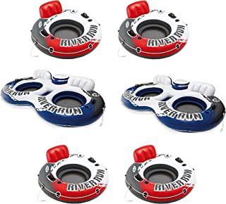 Intex 1 Person Floating Water Tube (4 Pack) & 2 Person Pool Tube (2 Pack)